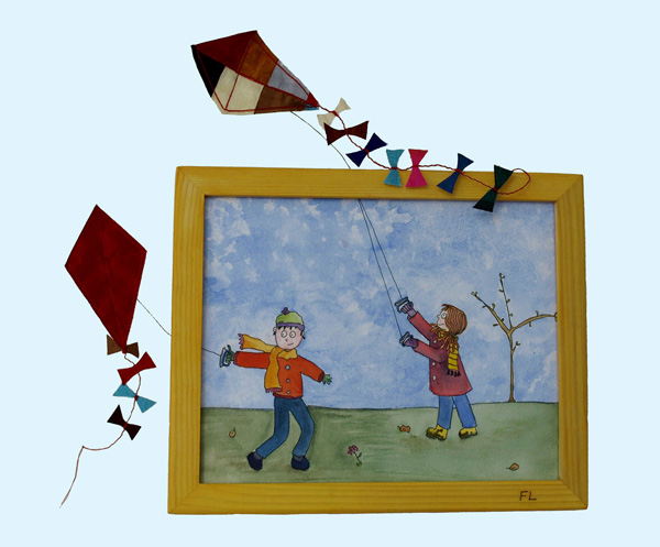Large painting, flying kites