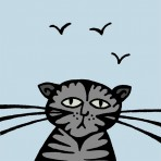 Blue cat greetings card