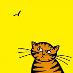 Yellow cat greetings card