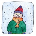 Cold boy greetings card