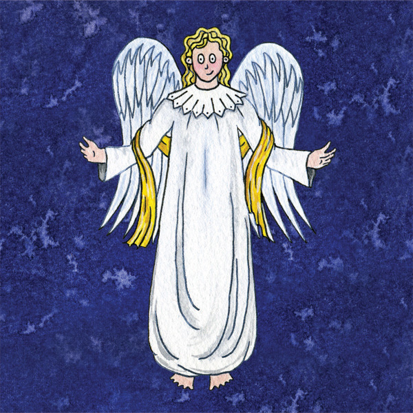 Nativity angel christmas card © Freya Laughton