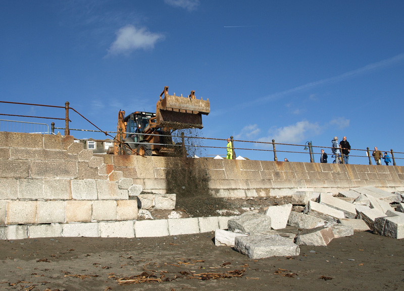 Penzance prom damage clean up © Freya Laughton